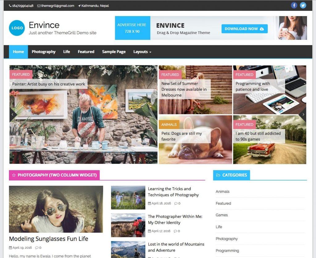 Envince magazine WordPress theme