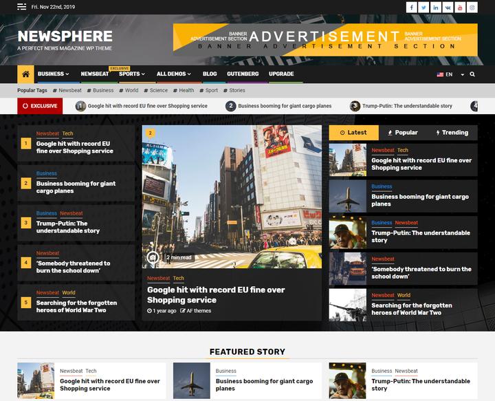 Newsphere Free Responsive Magazine Theme