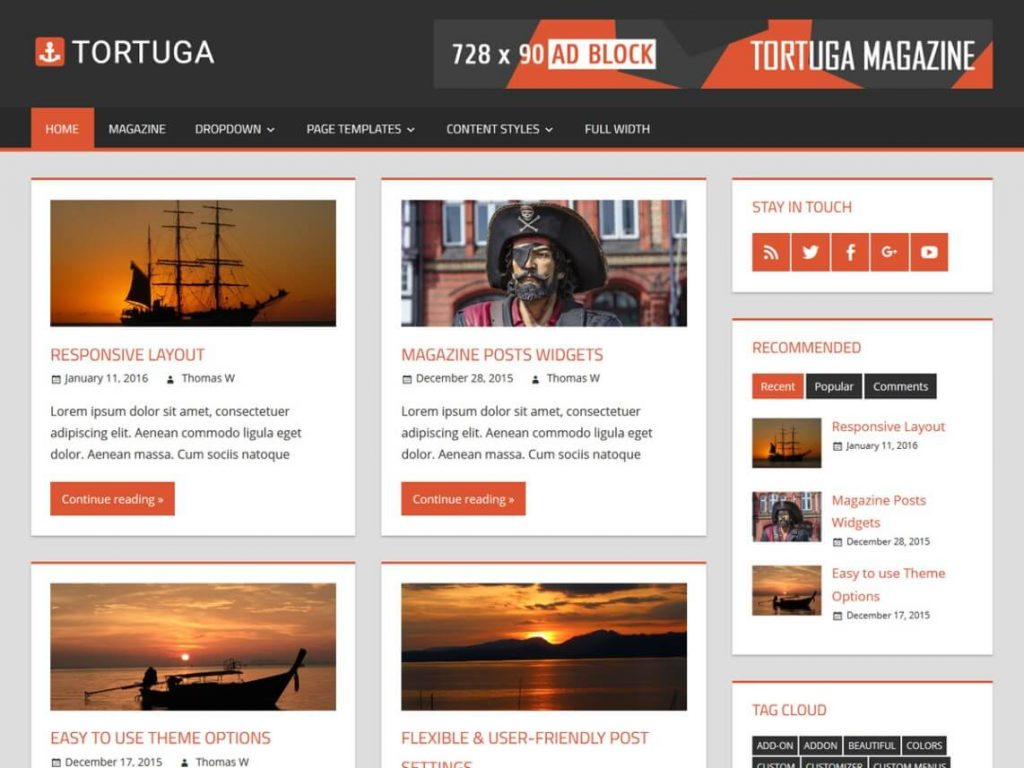 Tortuga- free wordpress magazine theme