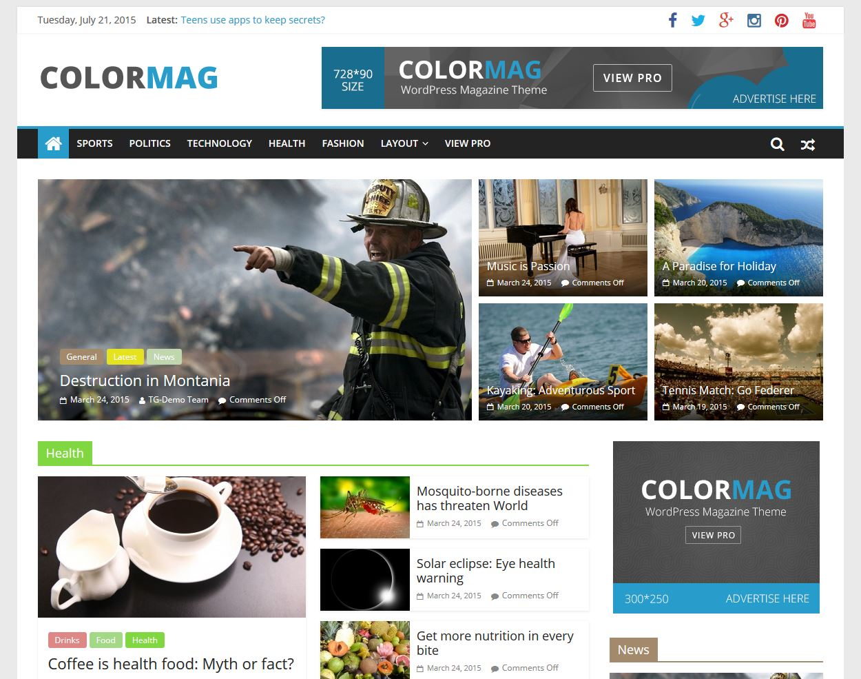 free magazine wordpress theme 2015 ColorMag Full