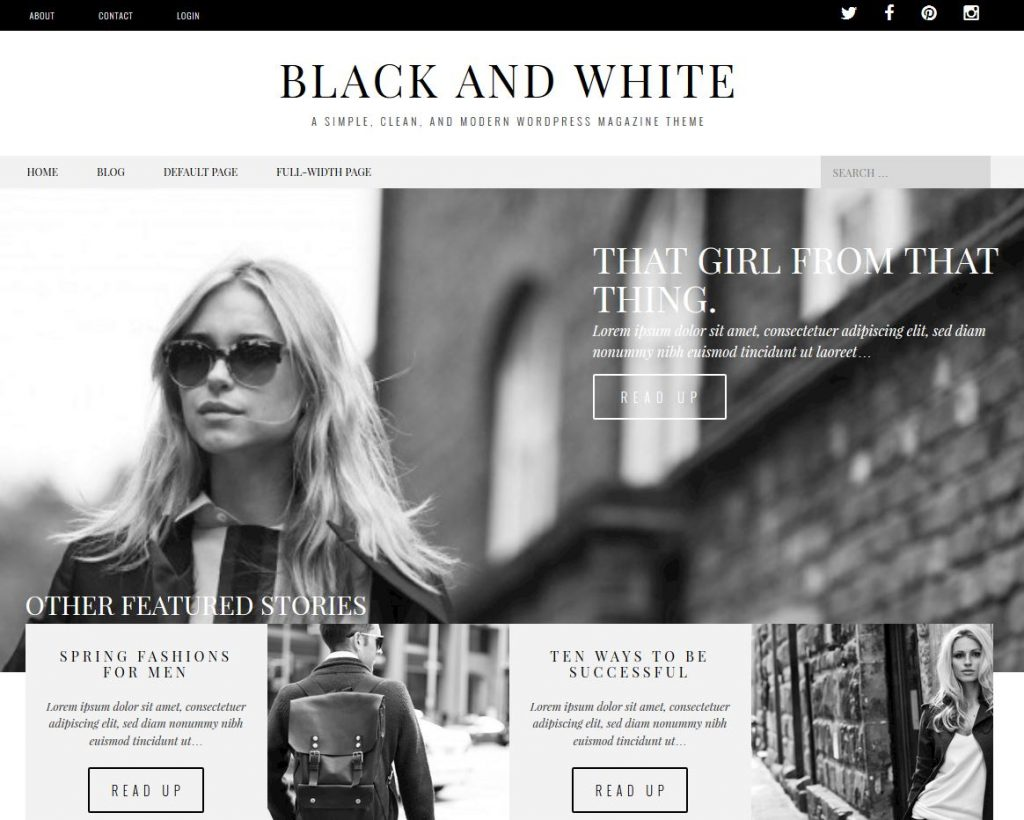 free magazine wordpress theme black and white