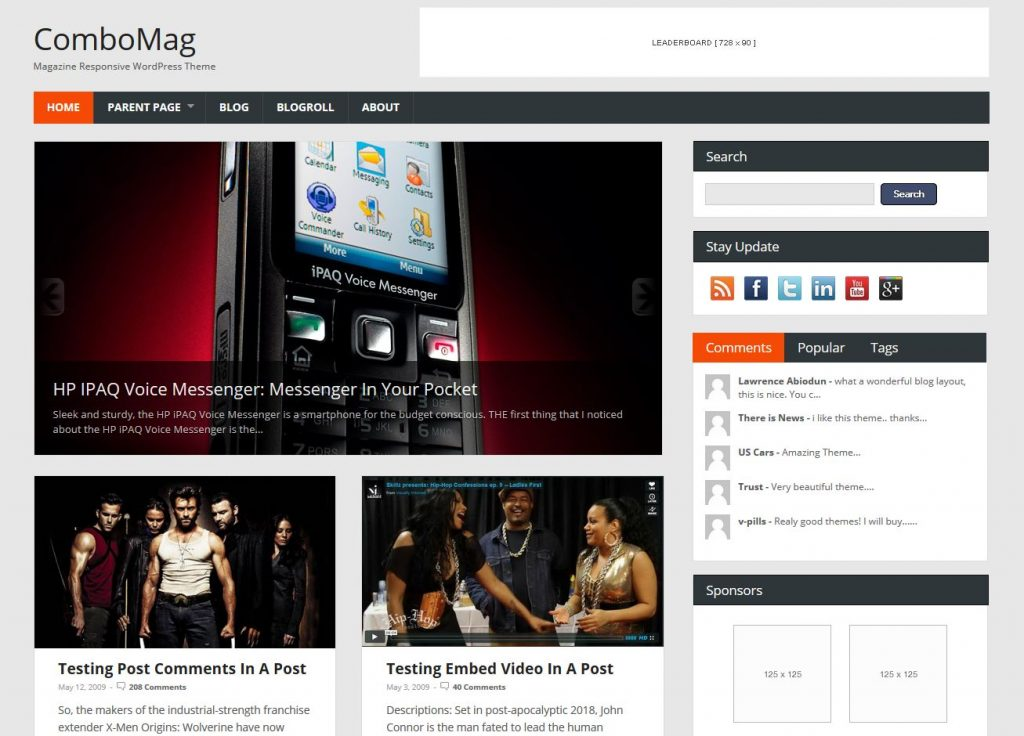 free magazine wordpress theme combomag