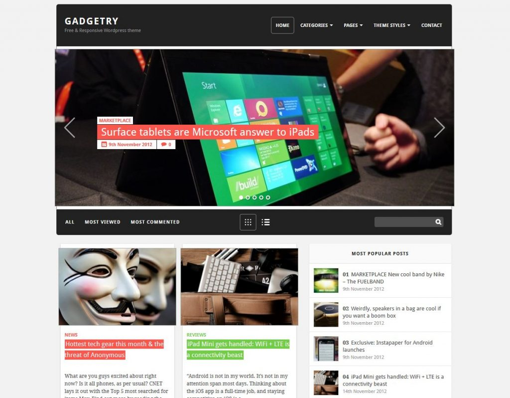 free magazine wordpress theme gadgetry