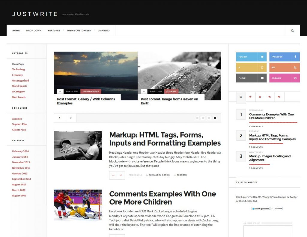free magazine wordpress theme justwrite