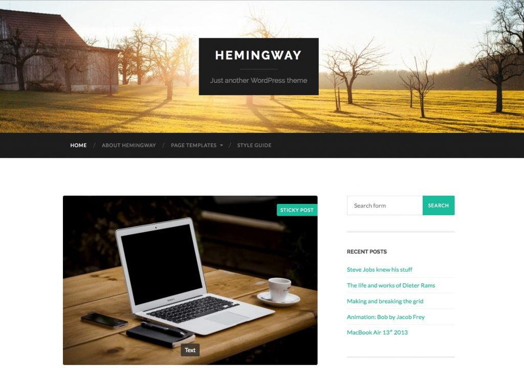 free wordpress themes for personal bloggers hemingway