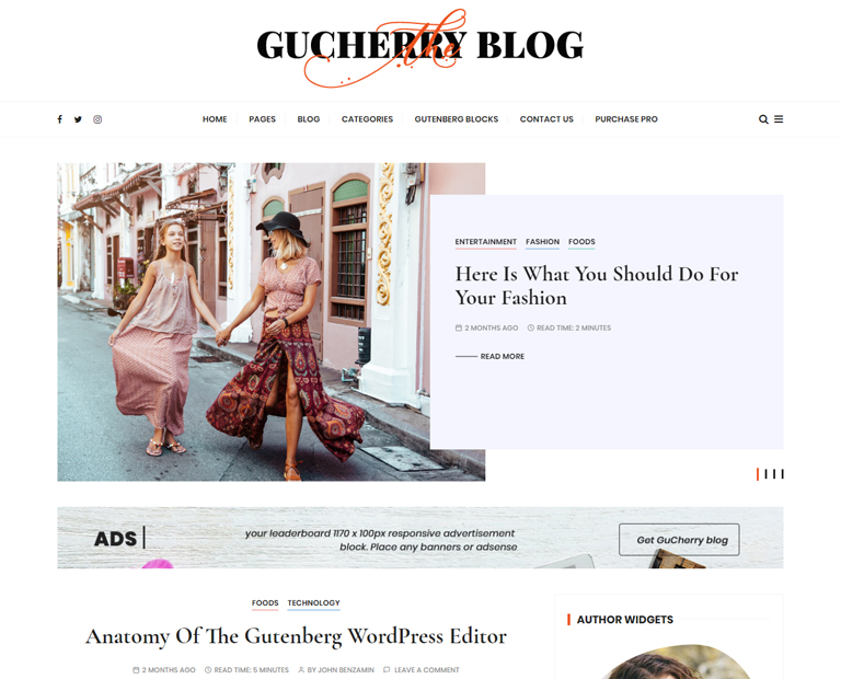 gucherry blog free wordpress blog theme
