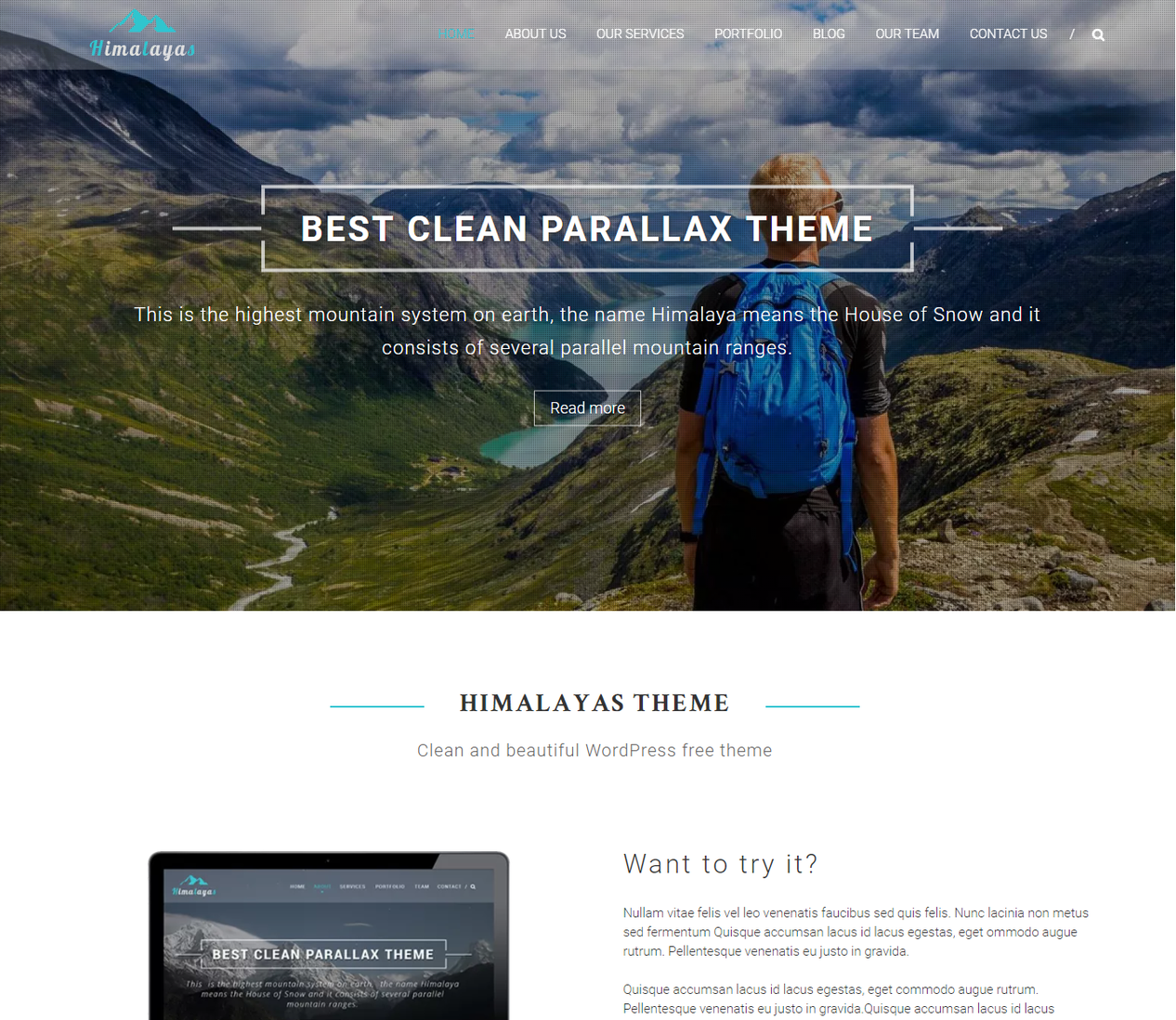 Himalayan Parallax WordPress Themes 1