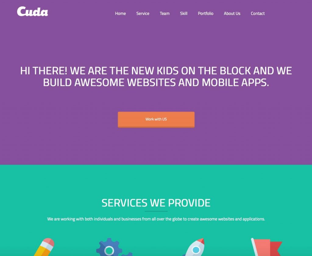 cuda - free one page wordpress themes collection