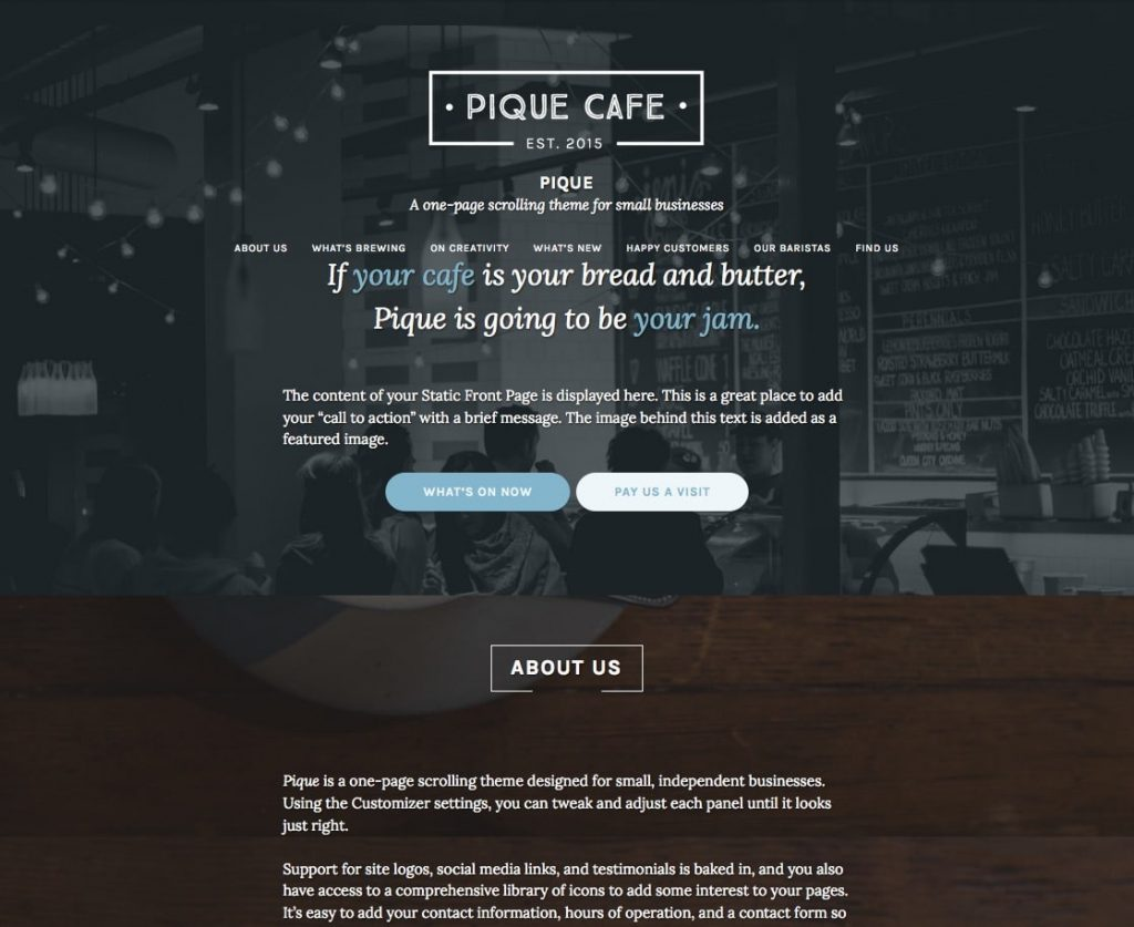 pique - free one page wordpress themes collection