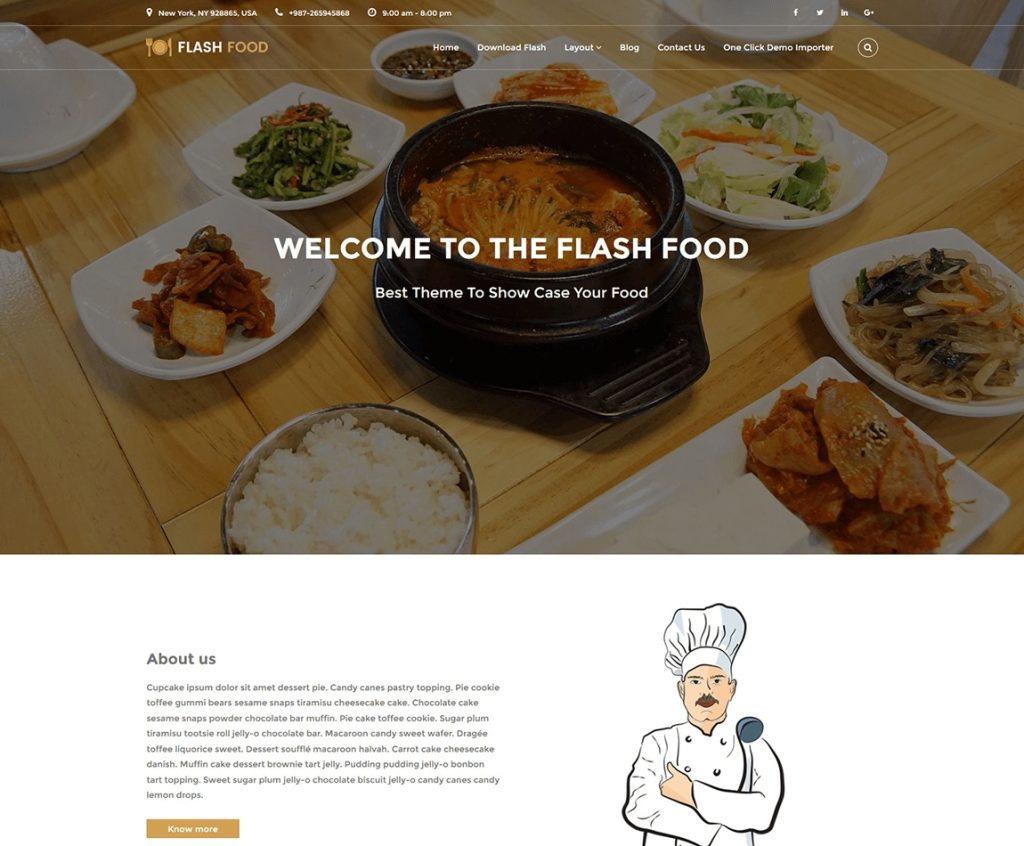 Flash food - free wp reataurant theme