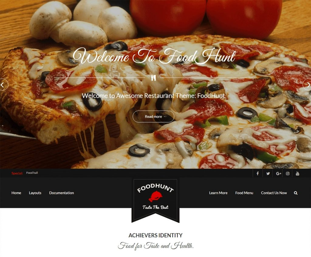 FoodHunt best wordpress food restaurant free theme