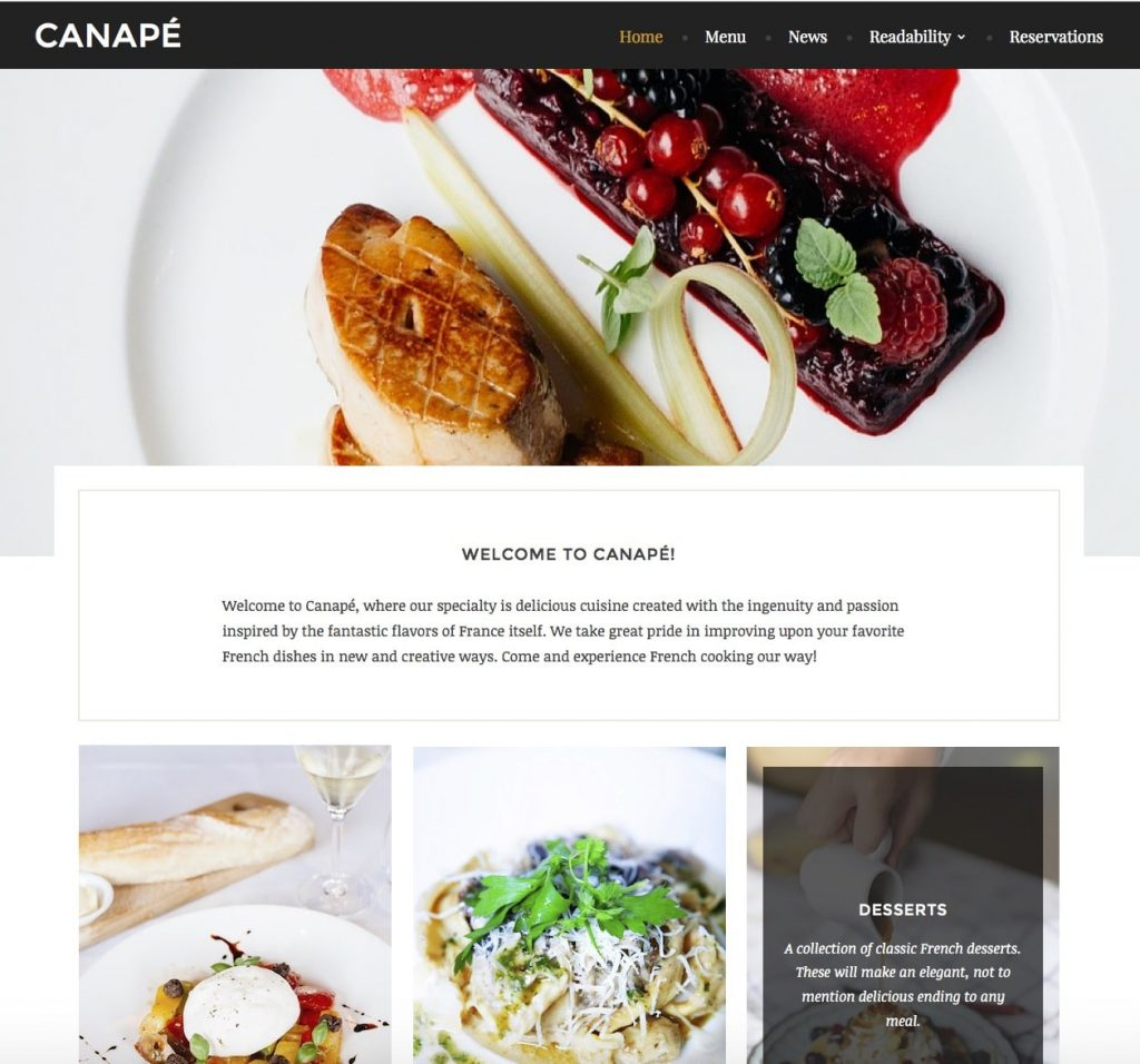 10 best free responsive restaurant wordpress theme 2017 for Canape display stands