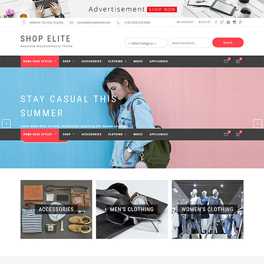 free woocommerce themes - shop elite