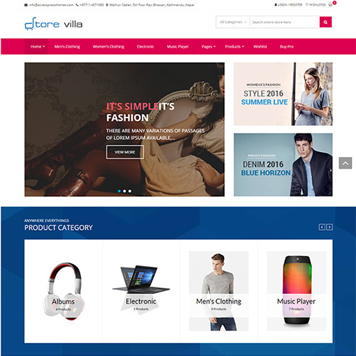 free woocommerce themes- store villa