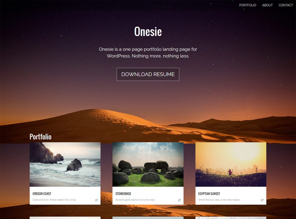 onesie-free-landing-page-wordpress-theme