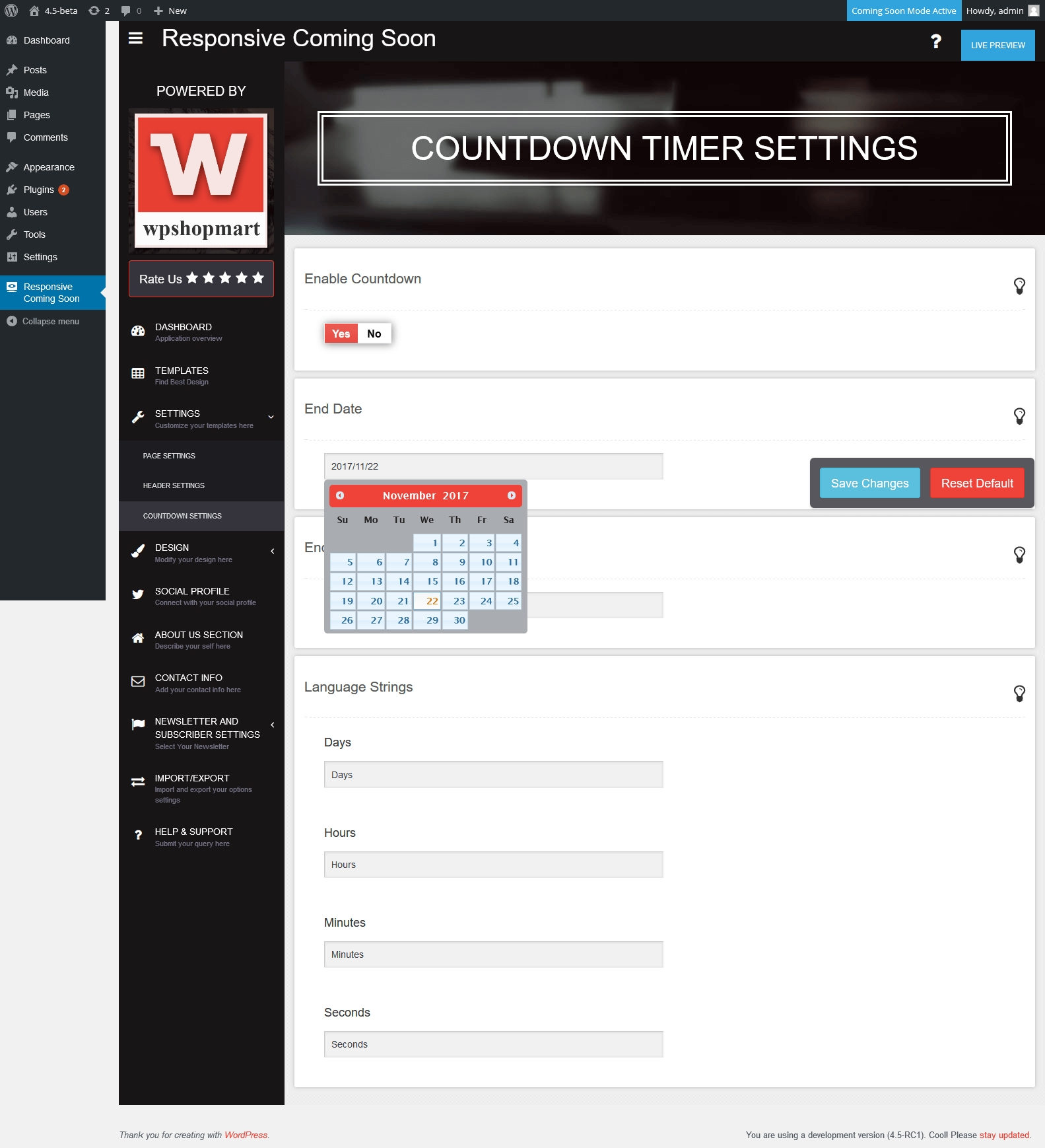 responsive-coming-soon-countdown-timer-settings