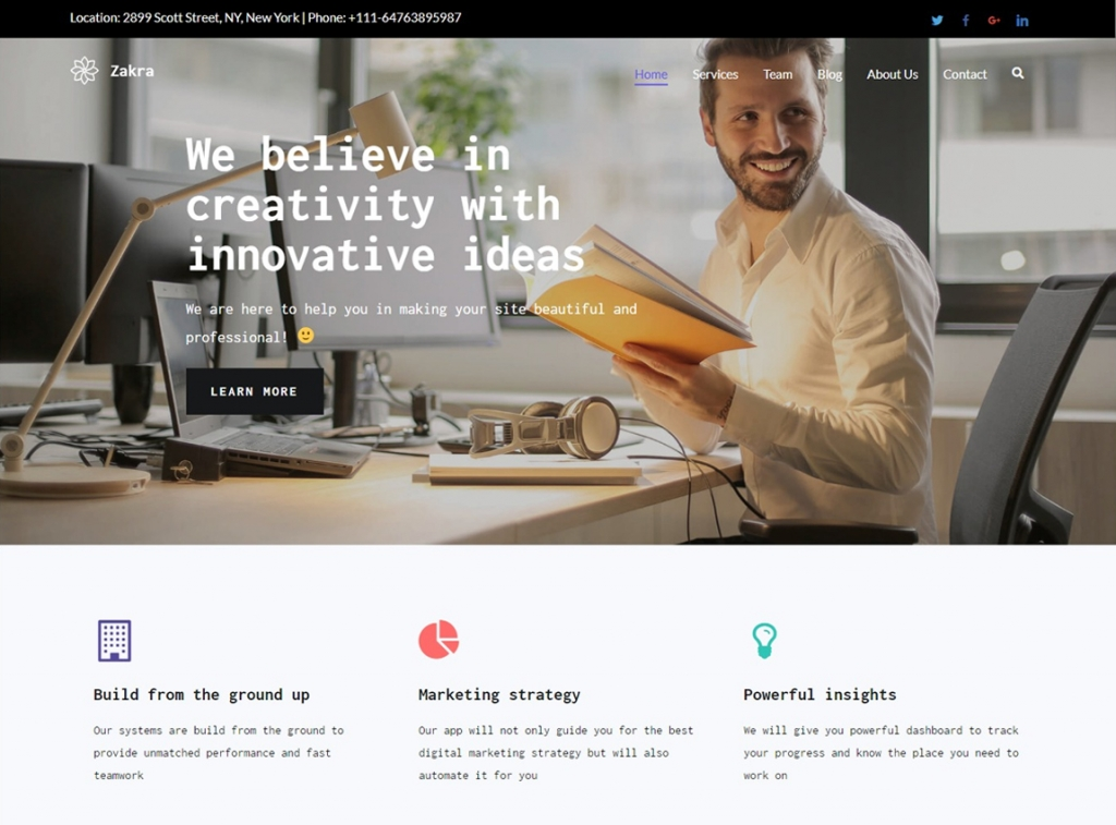 zakra-wordpress-landing-page-theme