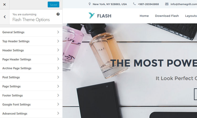 flash-theme-wordpress-live-customizer