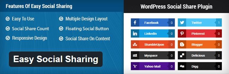 Easy Social Sharing -best free wordpress social media plugin