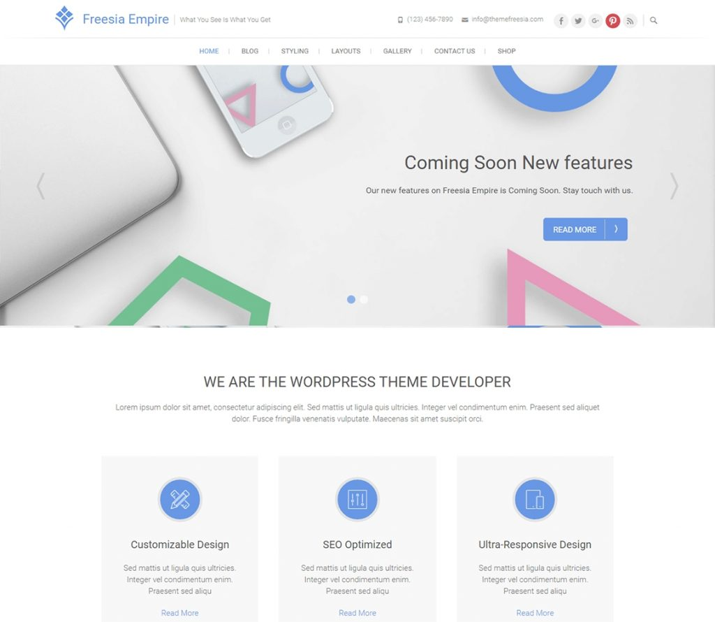 Freesia Empire free wordpress business theme