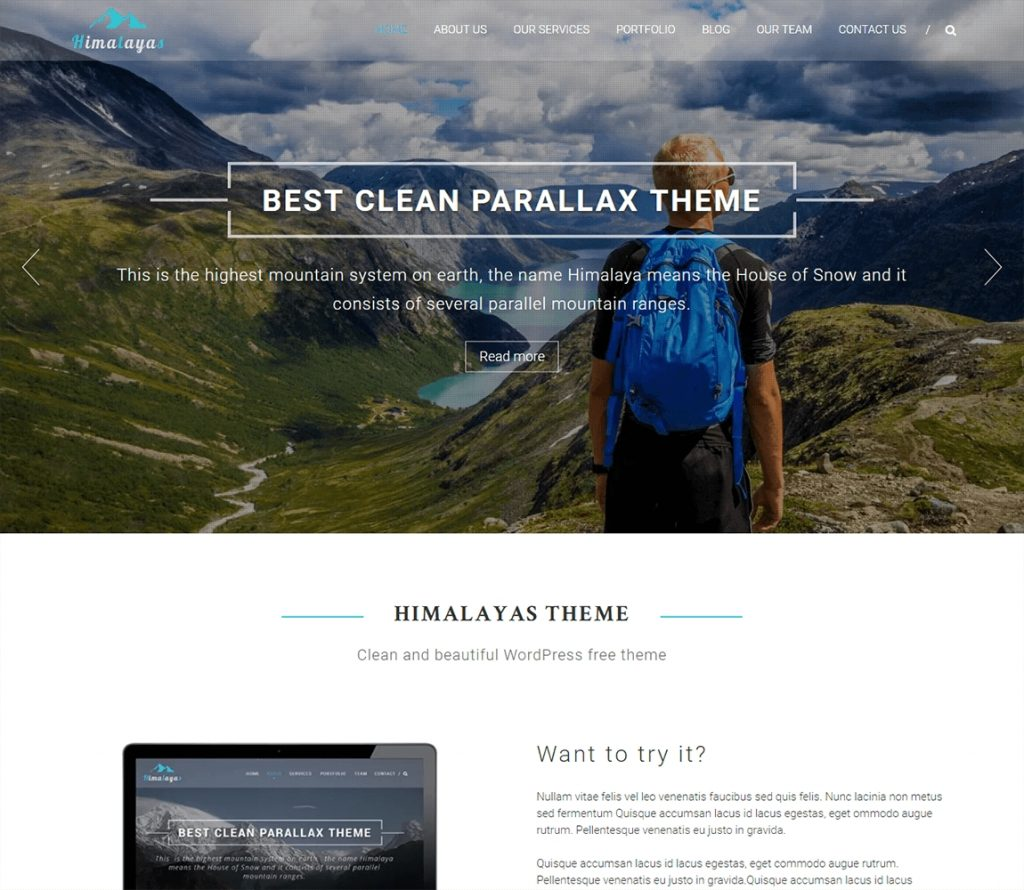 Himalayas best free wordpress business theme with one page parallax design