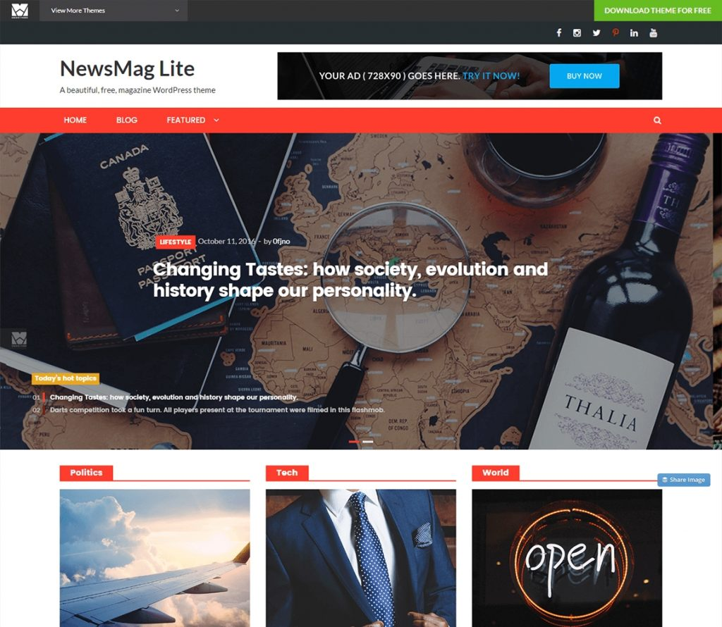 NewsMag Lite libre wordpress tema de la revista de noticias