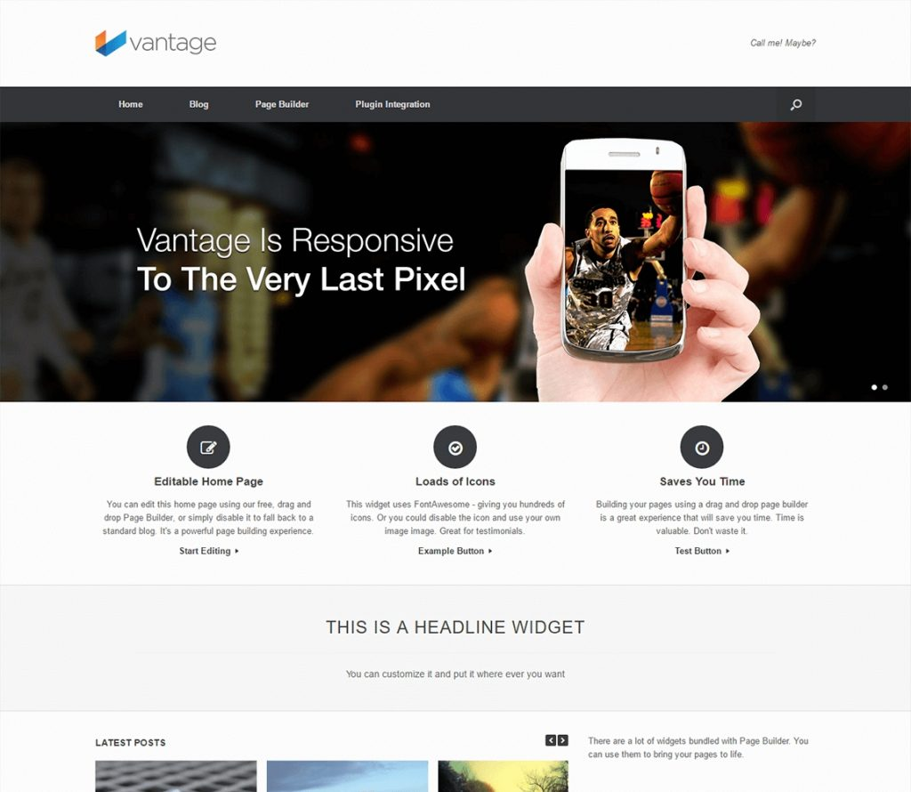 Vantage Demo - tema libre de wordpress