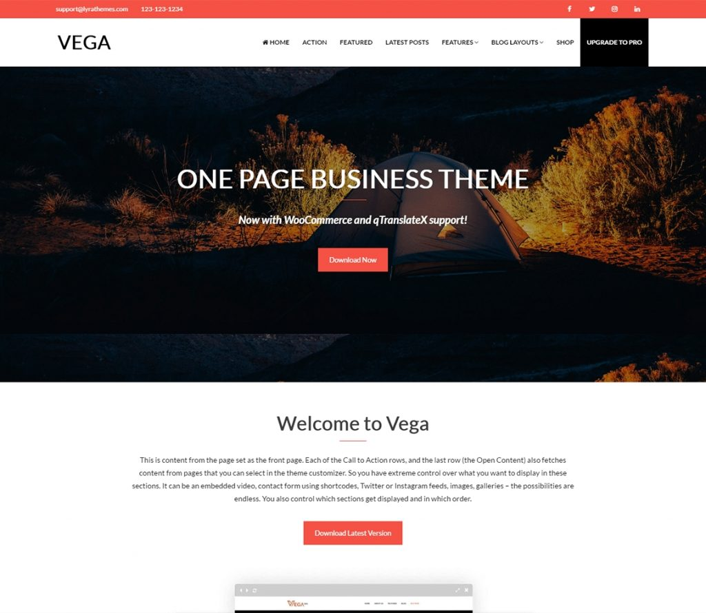 Vega – The Best Free One Page Business portfolio theme