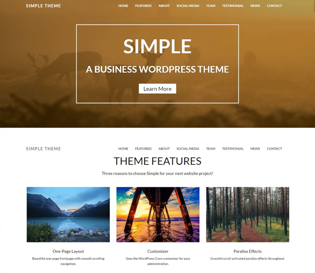 WP Tema simple paralaje wp tema de desplazamiento