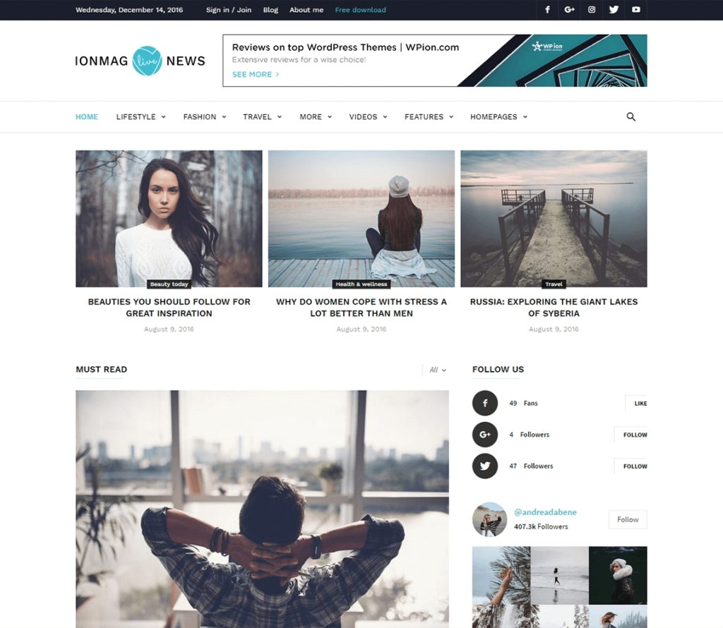 ionMag I Free Premium WordPress magazine Theme
