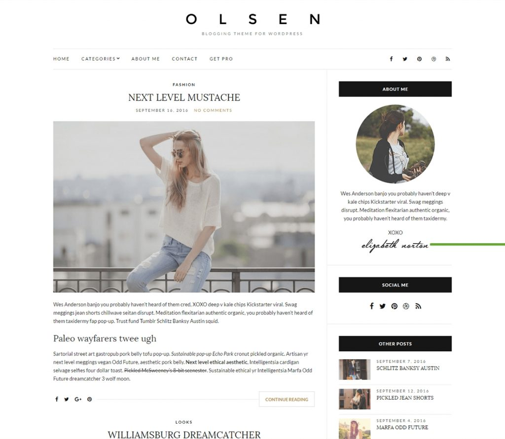 Olsen WordPress tema de blogs gratis