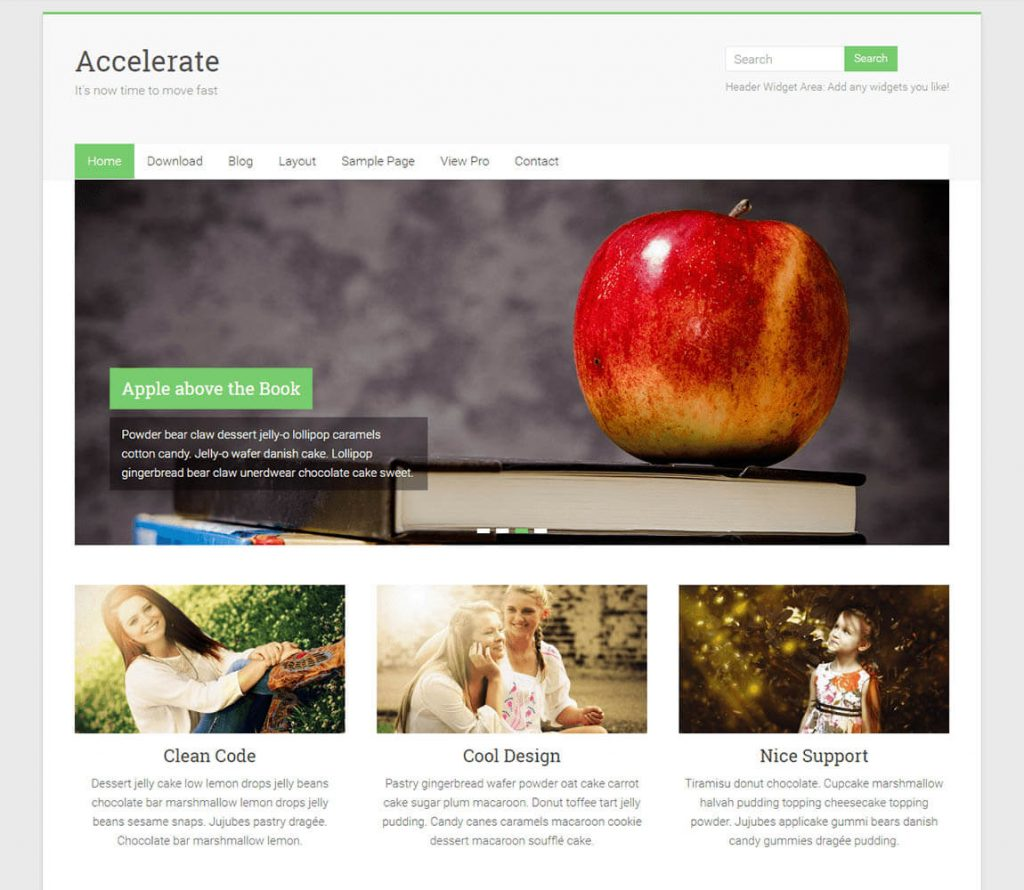 Accelerate best free wordpress portfolio theme