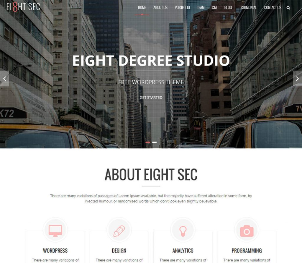 Eight Sec One Page WP Theme for personal portfolio websites