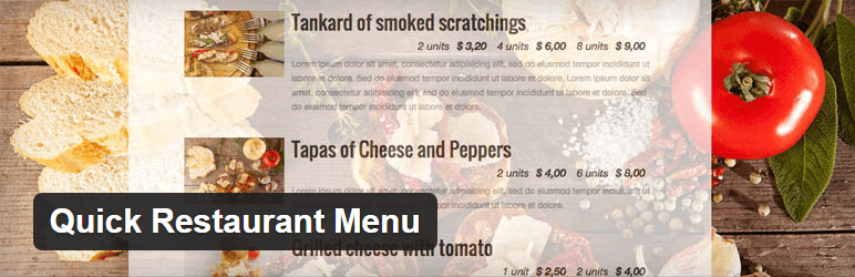 Quick Restaurant Menu free WordPress Plugin for creating restaurnat menus