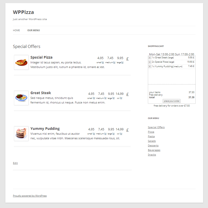 WPPizza restaurant plugin demo