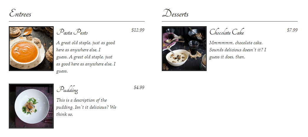 food and drink menu plugin classic two-column layout