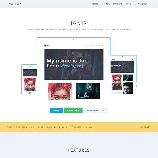 free portfolio WordPress themes - ignis