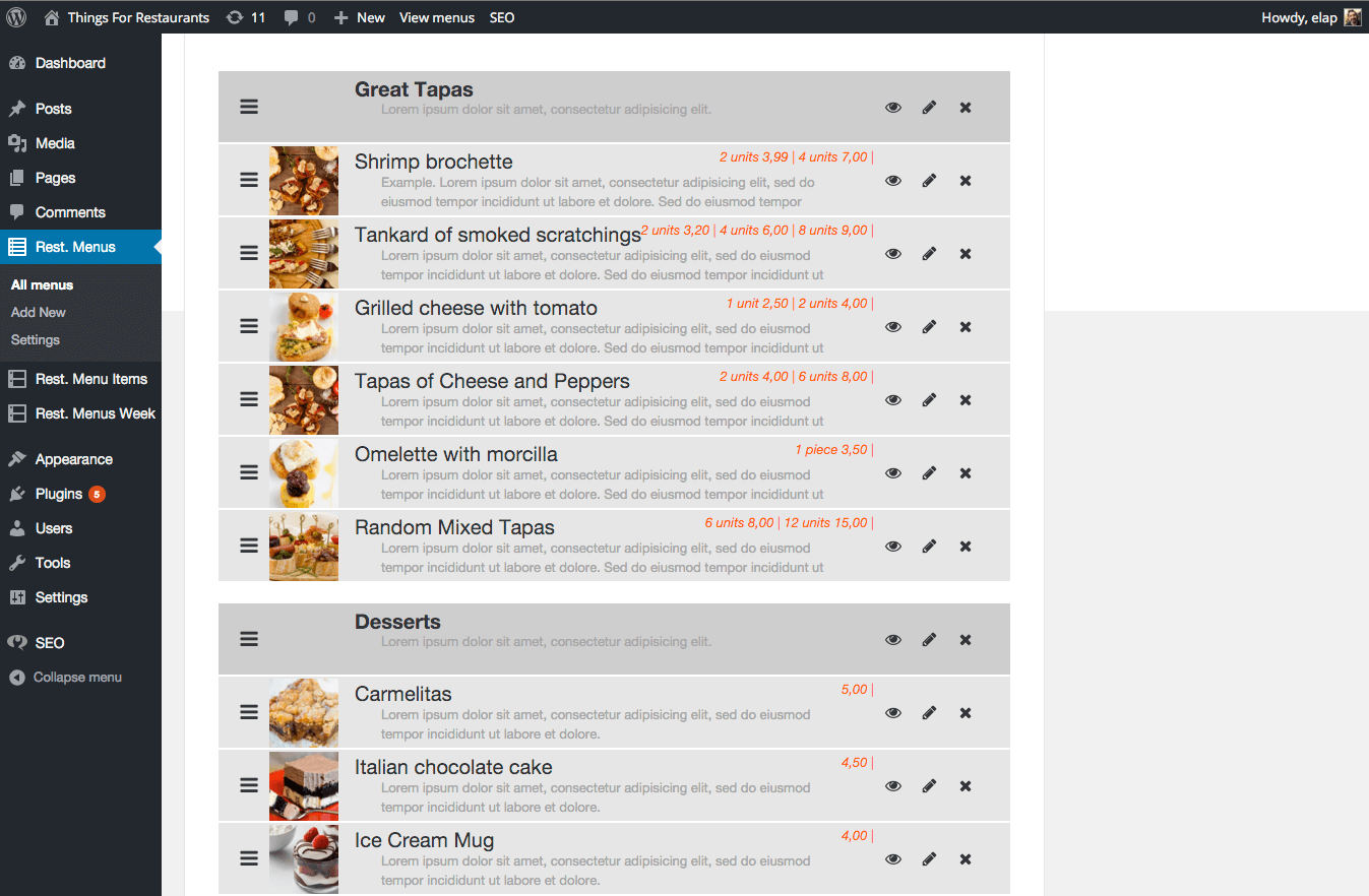 quick restaurant menu plugin dashboard