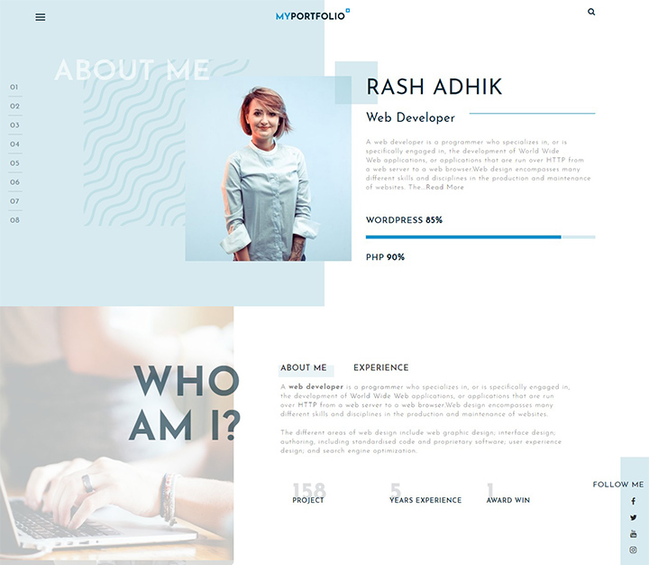 rt portfolio wordpress free portfolio theme