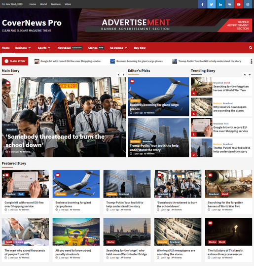 CoverNews Pro Best Responsive WordPress News Magazine Themes