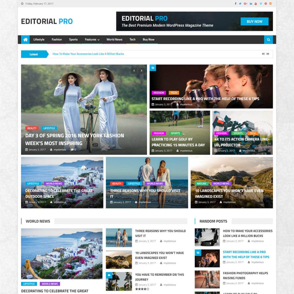 Editorial Pro - premium wordpress magazine theme
