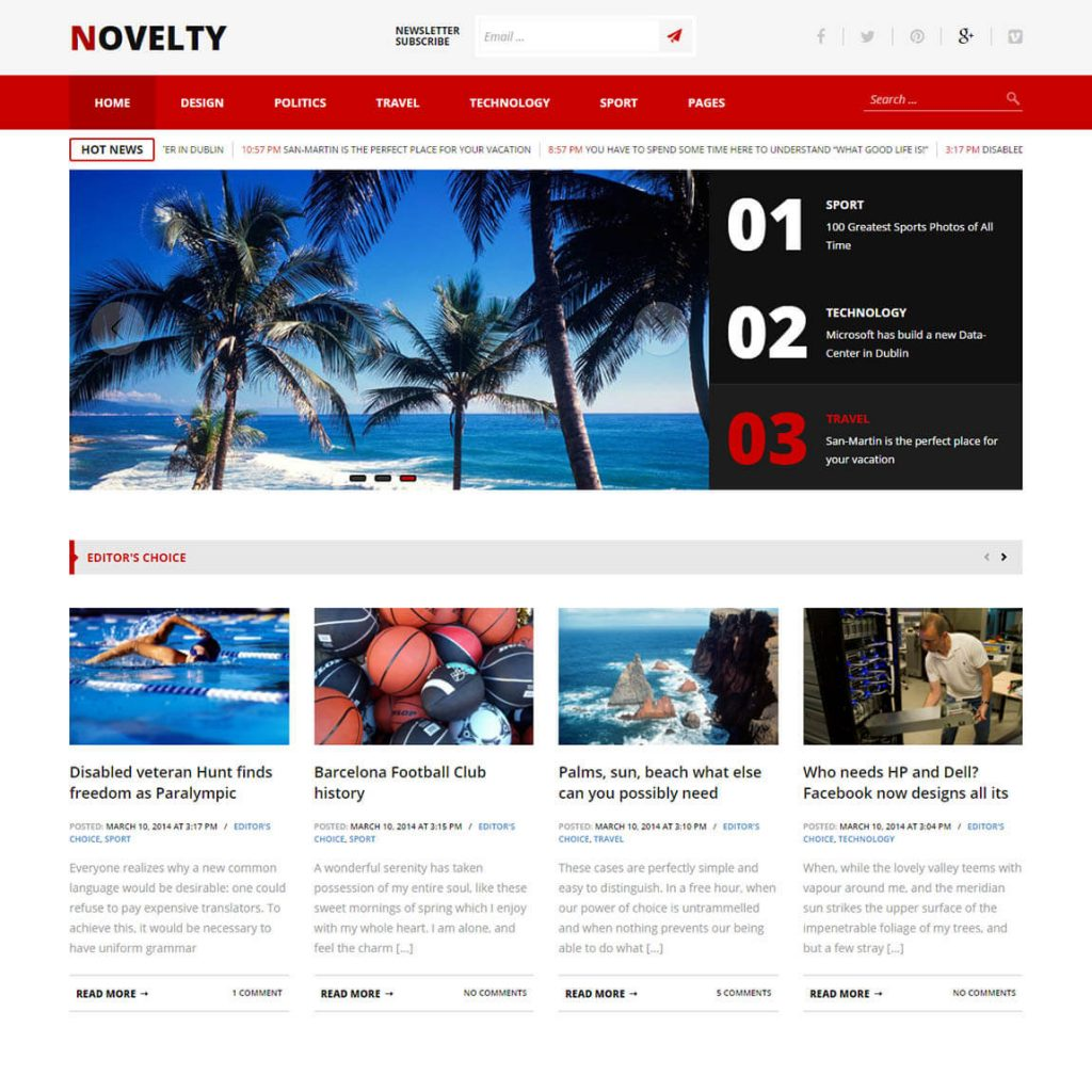 Novelty Premium wordpress magazine Template