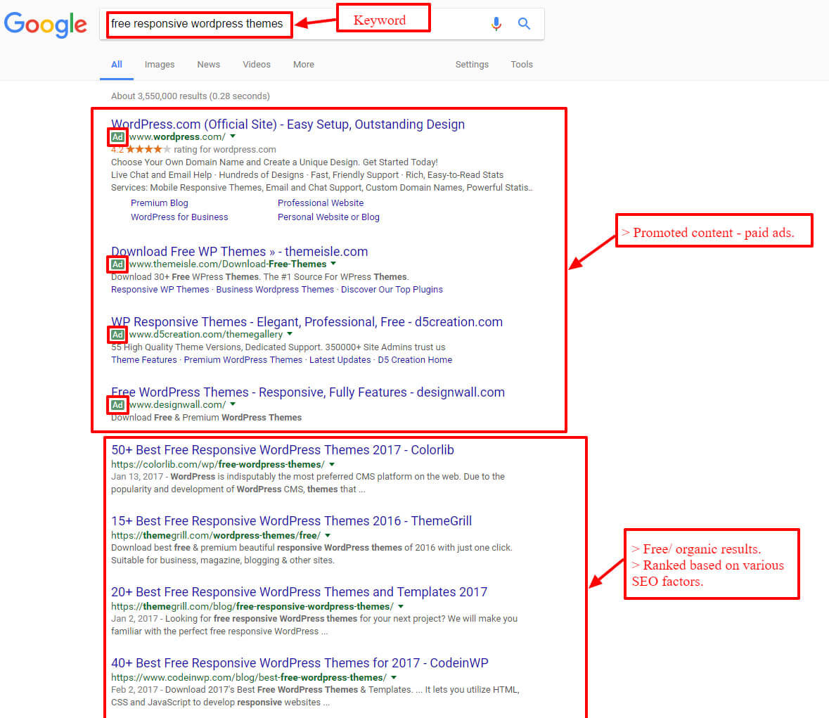 SEO- google search results screenshot