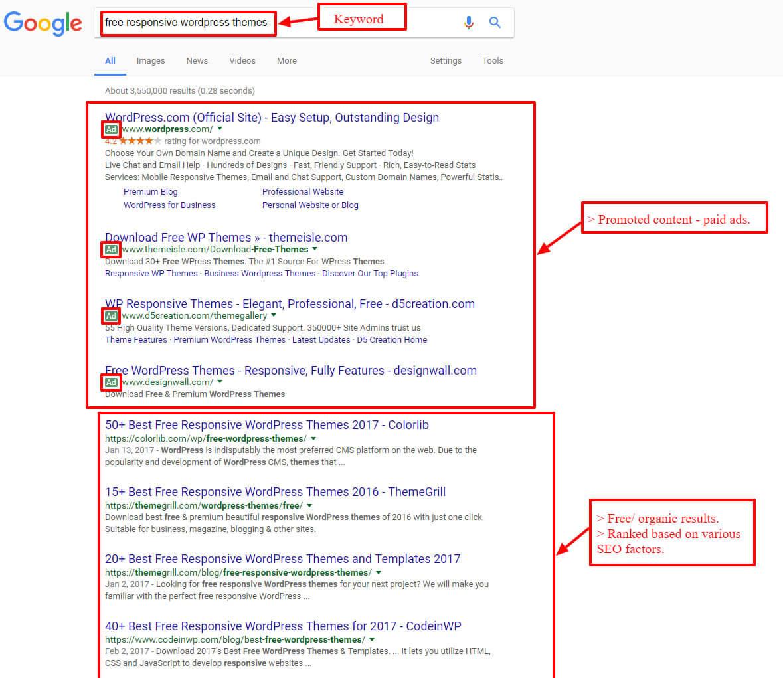 SEO- google search results screenshot