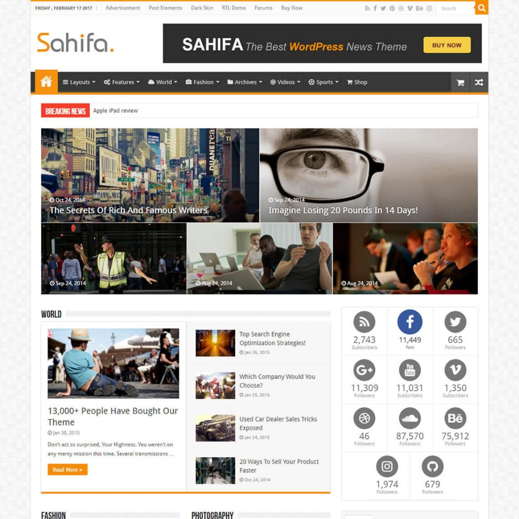 Sahifa – Blog Magazine Newspaper Theme