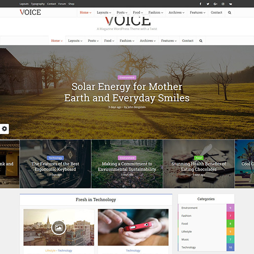 voice wordpress magazine theme