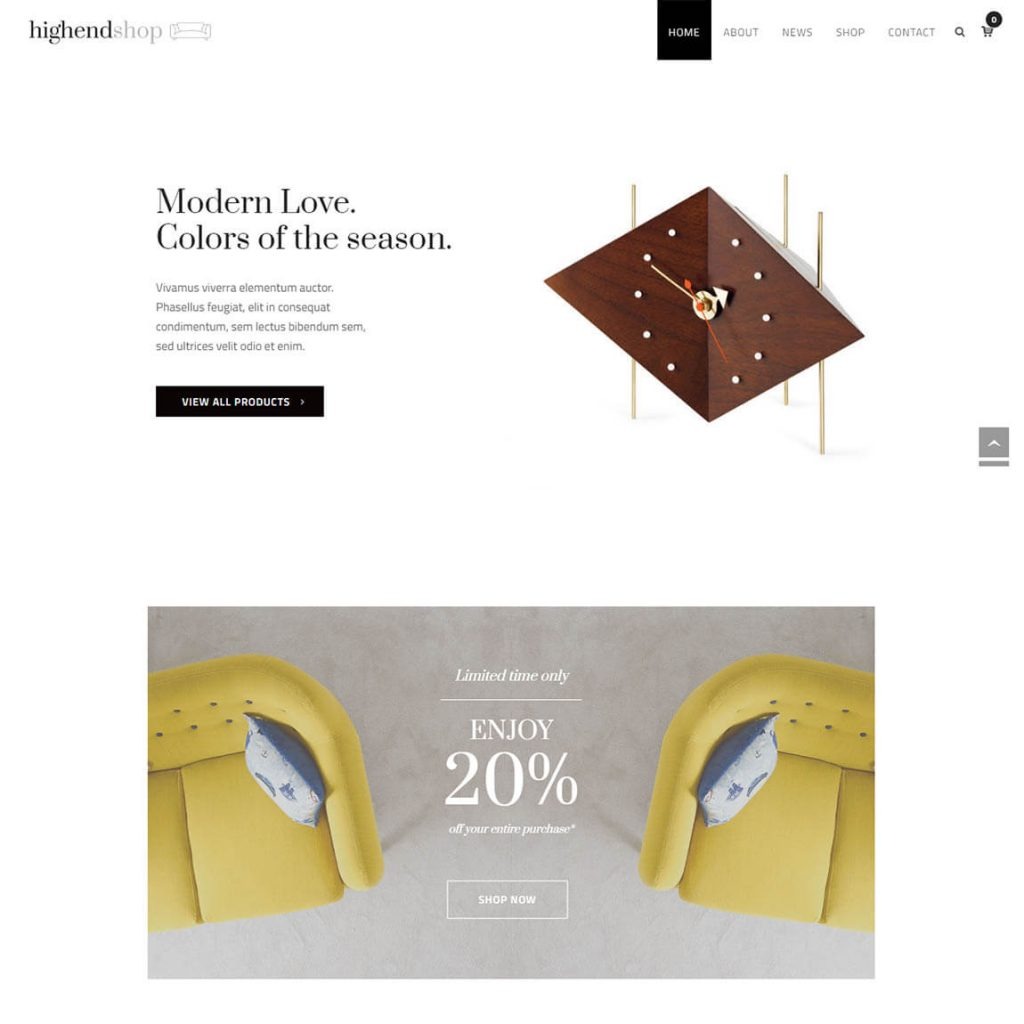 Highend Online Shop wordpress theme