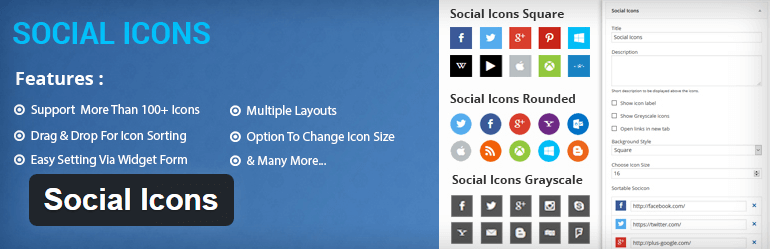 Social Icons WordPress widget Plugin