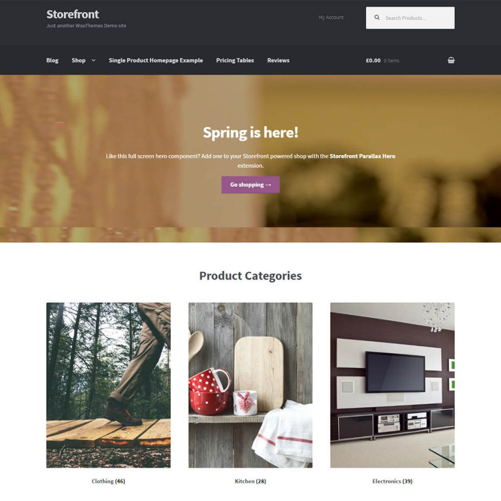 StoreFront WooCommerce theme wordpress