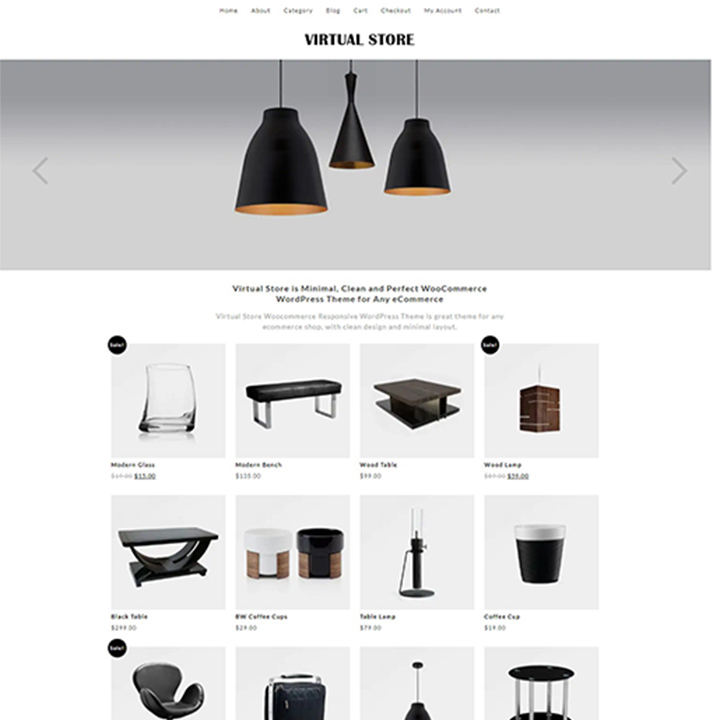 Virtual Store Virtual Store is an amazing WordPress eCommerce theme built with a modern and stylish look and feel. Crafted especially to create the perfect shopping platform for your users, this theme is fully responsive and mobile friendly. In addition to this, the template also offers HD imagery which adds to the appeal of the overall website. It is simplistic and provides the user with a clutter-free space to work with. Not only this, but it comes with tons of WooCommerce ready features that make this theme even more effective. The advanced features include- custom background color and image option, cross-browser compatibility, SEO optimization and more.  Features: Minimal and simplistic theme Fully compatible with WooCommerce plugin Optimized for SEO. Custom background color and image option Mega menus support Price: $39  Learn More/ Download Live Preview